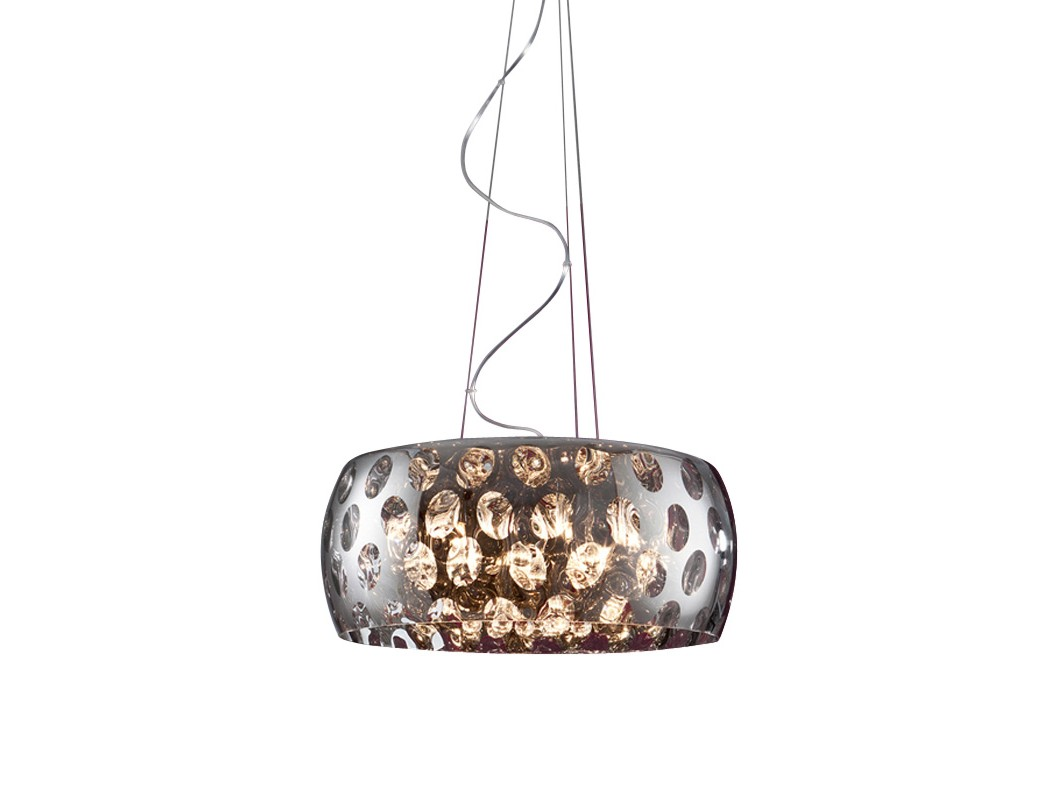 Подвесной светильникПодвесные светильники<br>Подвесной светильник с зеркальным плафоном из хромированного металла. Декор: подвески из стекла внутри плафона. Высота светильника регулируется до 160 см.<br>Вид цоколя: G9<br>Мощность:  40W<br>Количество ламп: 6 (в комплекте)<br><br><br>kit: None<br>gender: None