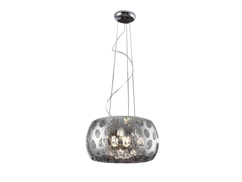 Подвесной светильникПодвесные светильники<br>Подвесной светильник с зеркальным плафоном из хромированного металла. Декор: подвески из стекла внутри плафона.&amp;amp;nbsp;&amp;lt;div&amp;gt;Высота светильника регулируется до 160 см.&amp;lt;/div&amp;gt;&amp;lt;div&amp;gt;&amp;lt;br&amp;gt;&amp;lt;/div&amp;gt;&amp;lt;div&amp;gt;&amp;lt;div&amp;gt;Вид цоколя: G9&amp;lt;/div&amp;gt;&amp;lt;div&amp;gt;Мощность:&amp;amp;nbsp; 40W&amp;lt;/div&amp;gt;&amp;lt;div&amp;gt;Количество ламп: 5 (в комплекте)&amp;lt;/div&amp;gt;&amp;lt;/div&amp;gt;<br><br>Material: Металл<br>Ширина см: 40.0<br>Высота см: 22.0<br>Глубина см: 40.0