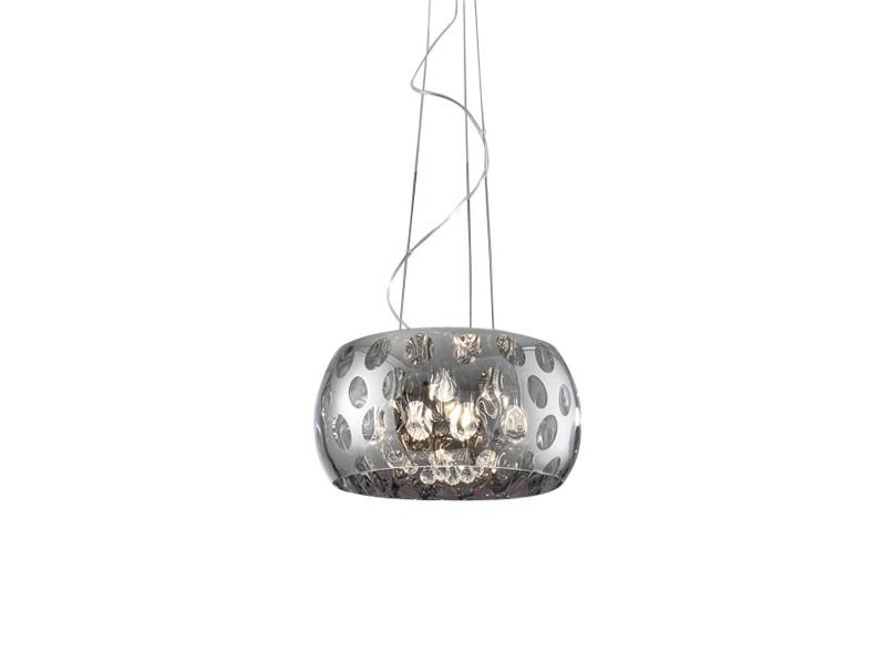 Подвесной светильникПодвесные светильники<br>Подвесной светильник с зеркальным плафоном из хромированного металла. Декор: подвески из стекла внутри плафона.&amp;amp;nbsp;&amp;lt;div&amp;gt;Высота светильника регулируется до 160 см.&amp;lt;br&amp;gt;&amp;lt;/div&amp;gt;&amp;lt;div&amp;gt;&amp;lt;br&amp;gt;&amp;lt;/div&amp;gt;&amp;lt;div&amp;gt;&amp;lt;div&amp;gt;Вид цоколя: G9&amp;lt;/div&amp;gt;&amp;lt;div&amp;gt;Мощность:&amp;amp;nbsp; 40W&amp;lt;/div&amp;gt;&amp;lt;div&amp;gt;Количество ламп: 3 (нет в комплекте)&amp;lt;/div&amp;gt;&amp;lt;/div&amp;gt;<br><br>Material: Металл<br>Ширина см: 27.0<br>Высота см: 15.0<br>Глубина см: 27.0