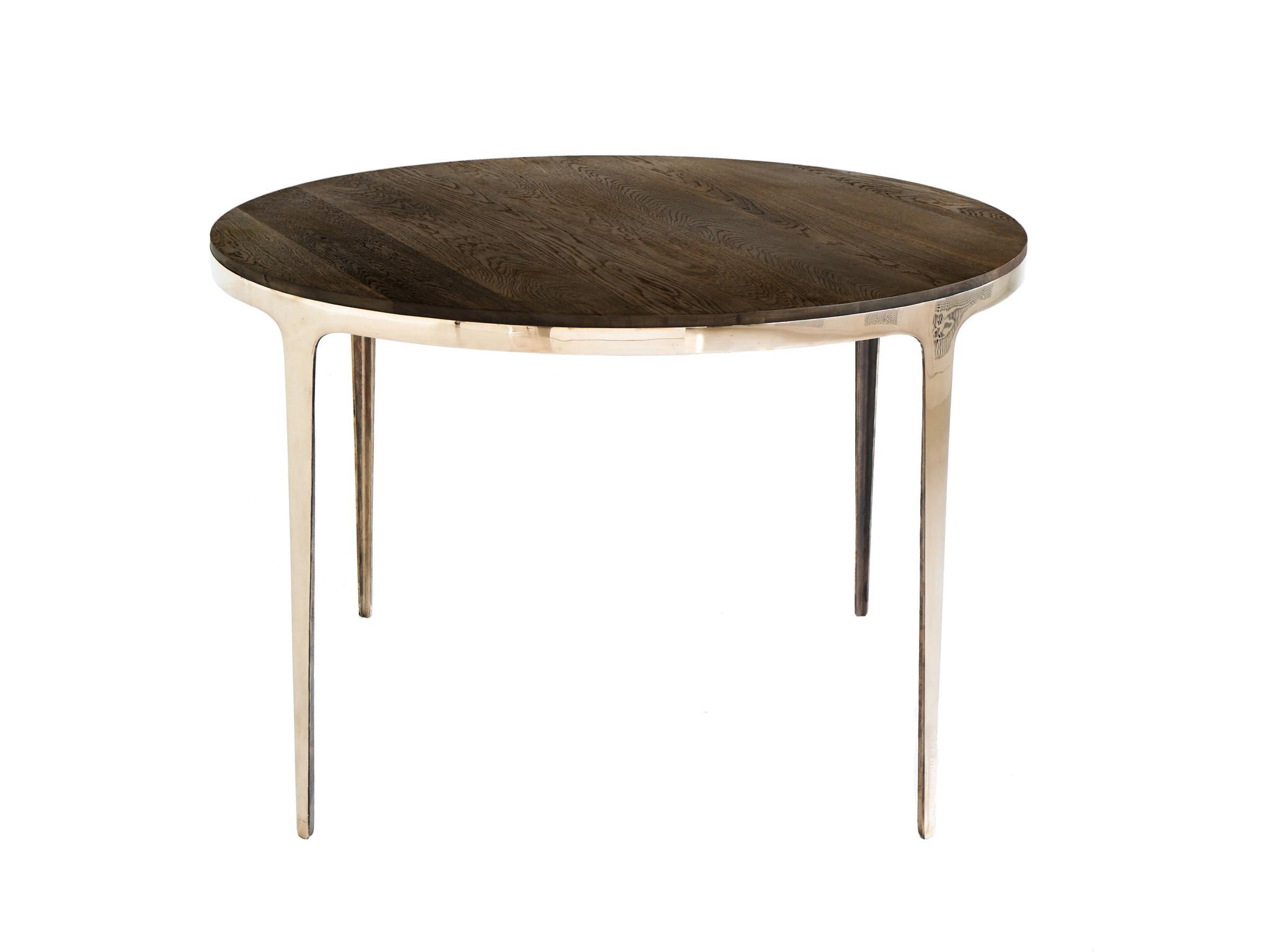 Стол круглый ring table без покрытия (glow) коричневый 73.0 см. фото