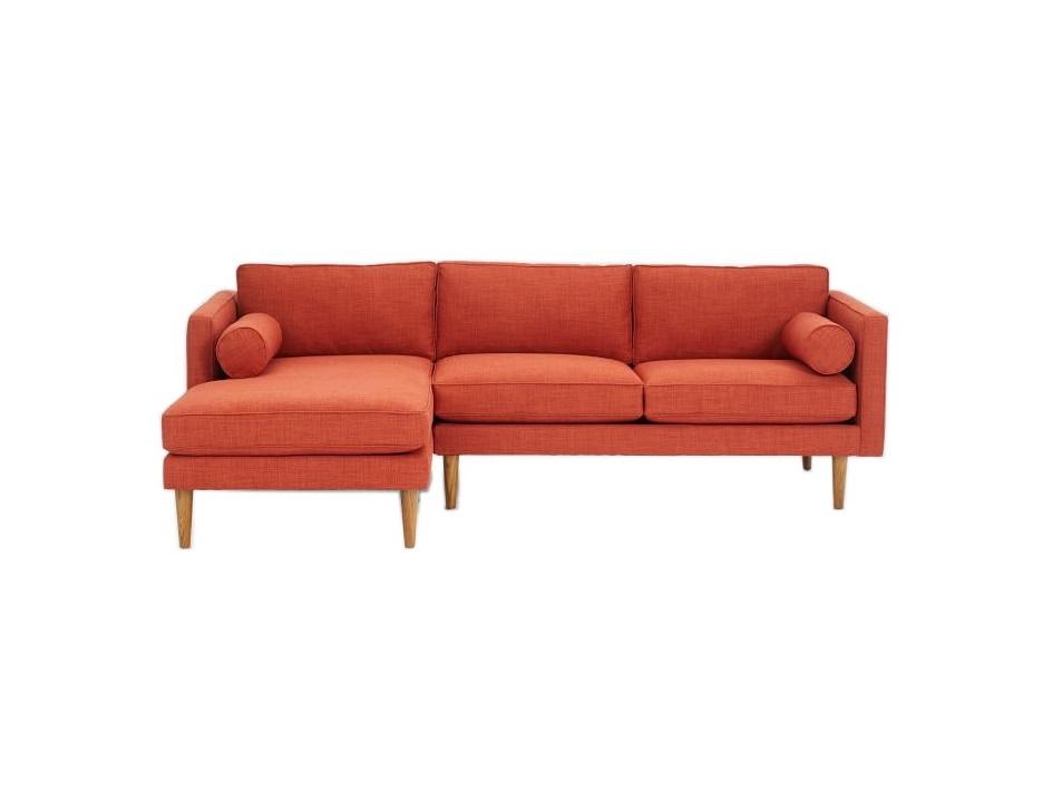 Угловой диван blues (myfurnish) оранжевый 215x76x147 см. фото