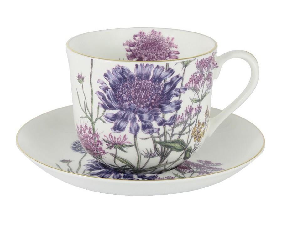 Чашка с блюдцем (сиреневые цветы)