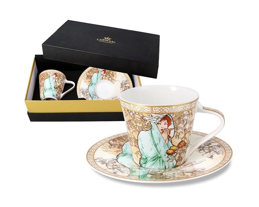 Чашка с блюдцем Зима (А. Муха)Чайные пары, чашки и кружки<br>Объем: 0,225 л.<br><br>Material: Фарфор