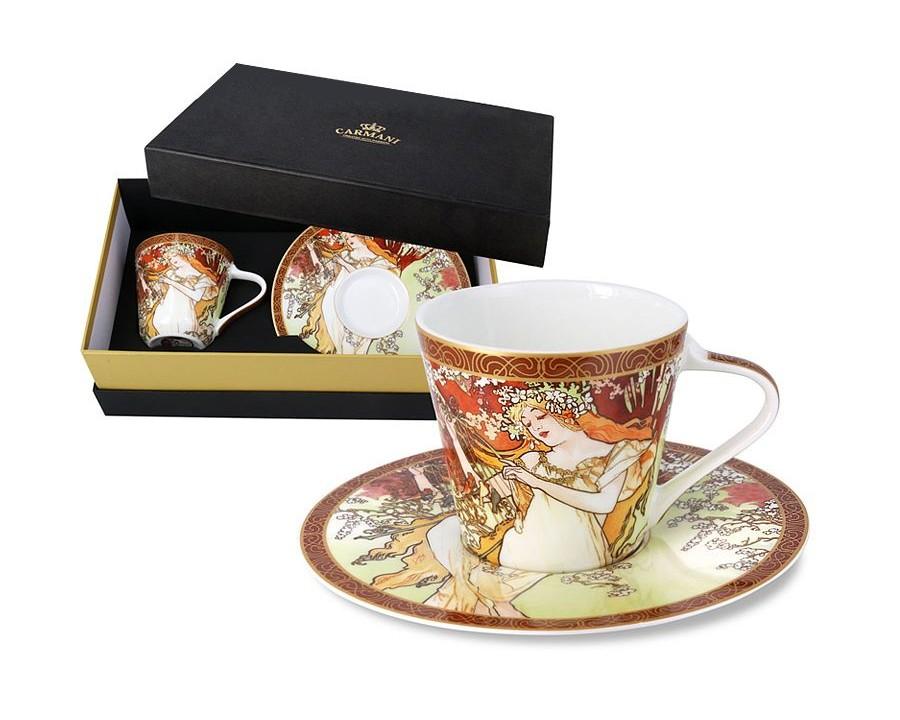Чашка с блюдцем Весна (А. Муха)Чайные пары, чашки и кружки<br>Объем: 0,225 л.<br><br>Material: Фарфор