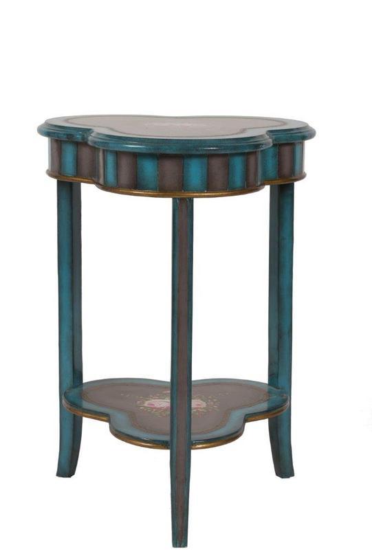 Консоль NormandieИнтерьерные консоли<br>Небольшая консоль от DG Home - отличное декоративное решение для уютных уголков дома. Консоль окрашена в коричневый и темно-бирюзовый цвета, ее полочки украшены цветочным узором, столешница в форме клевера схвачена тонким металлическим ободком.<br><br>Material: Дерево<br>Length см: 56.0<br>Width см: 53.0<br>Depth см: None<br>Height см: 79.0<br>Diameter см: None