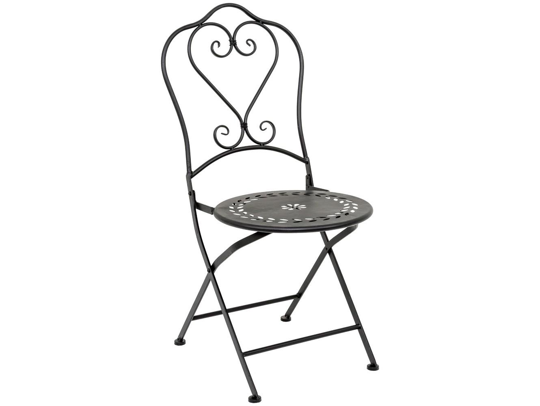 Складной стул «Жарден»Стулья для сада<br>При выборе дизайнов и цветов складной мебели определенное доверие вызывают черные металлические стулья. Они виртуозно выделяют изящный романтичный силуэт и художественную обработку металла. К тому же, черная мебель наверняка сочетается с любым интерьерным окружением. Стулья Жарден - доступное, но надежное удобство, к тому же, украшение с ярко выраженным вкусом. В сложенном виде ширина стула составляет лишь 10 см. Это удобно для хранения и перемещений.