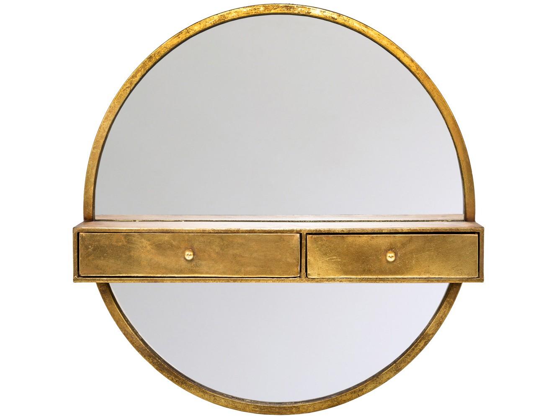 Настенное зеркало ОдиссеяНастенные зеркала<br>Зеркало &amp;quot;Одиссея&amp;quot; представляет необычный дизайн, совмещенный с полочкой и двумя ящичками. Согласитесь, это очень удобно, если зеркало хранит полный комплект галантерейных и косметических средств, ухаживающих за Вашей внешностью. Помимо прихожей, креативное зеркало &amp;quot;Одиссея&amp;quot; удобно в гостиной комнате и спальне, холле и кабинете.<br><br>Material: Металл<br>Глубина см: 15.0