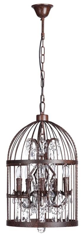 Люстра Vintage BirdcageЛюстры подвесные<br>железо + хрусталь<br>5 лампочек, E14 Max40W<br><br>Material: Хрусталь<br>Width см: 35<br>Height см: 61
