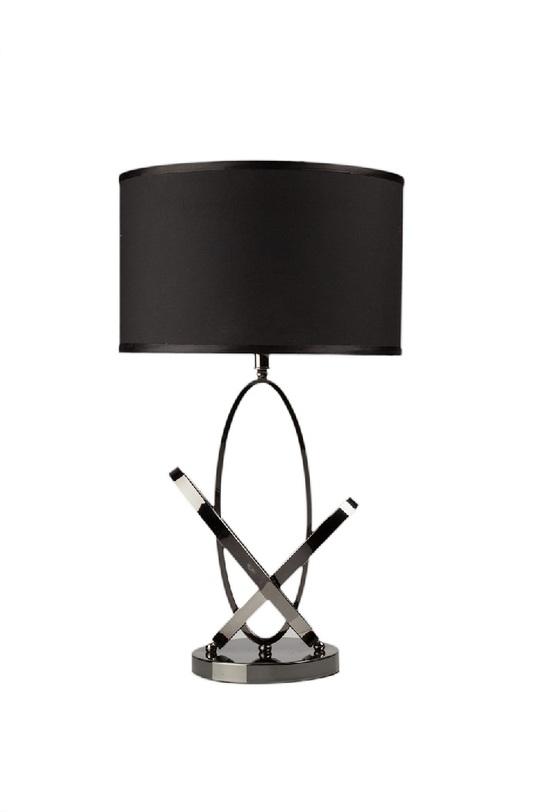 Настольная лампа  Angelo NoirДекоративные лампы<br>Настольная лампа Angelo Noir – изысканная и модная деталь интерьера, способная привнести в него не только роскошь, но и неповторимость. Каркас аксессуара выполнен из нержавеющей стали, абажур – тканевый современного черного цвета. За счет этого лампа будет удачно гармонировать с общим оформлением комнаты в любом стиле, привнося в нее яркость и лоск.<br><br>предназначена для использования со светодиодными лампами Е27 - 1 шт (лампы не включены в комплект)<br><br>Material: Сталь<br>Width см: 40<br>Height см: 63
