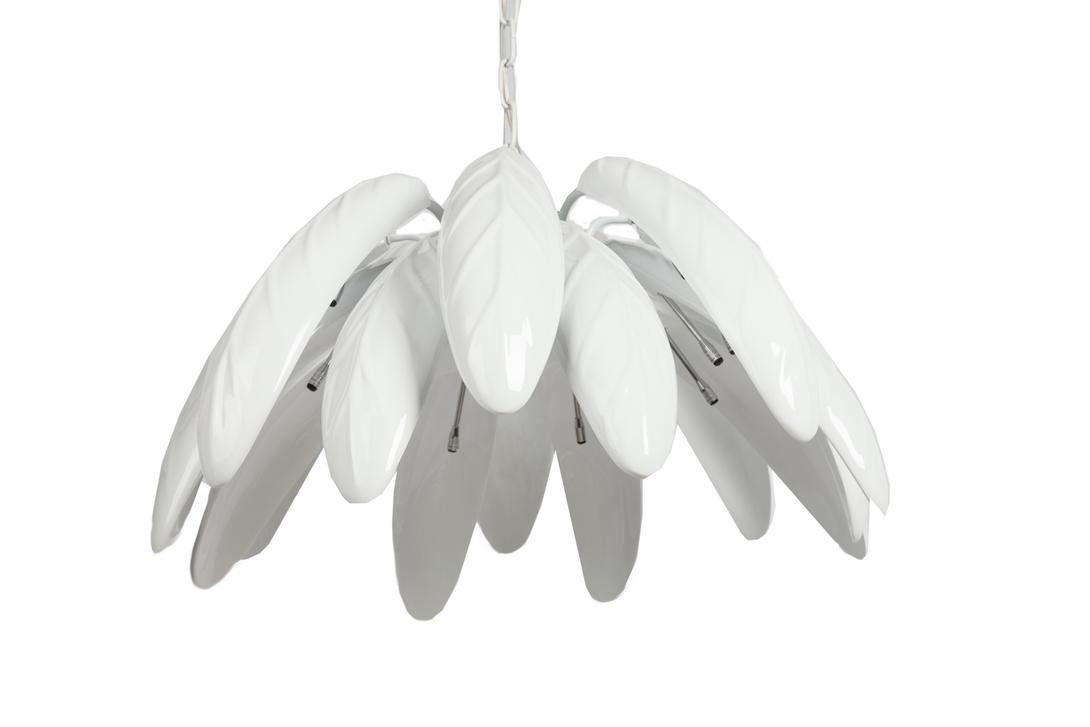Люстра Eglo AcaciaЛюстры подвесные<br>Изящная люстра Eglo Acacia нежного белого цвета украсит собой любую комнату вашего дома, будь то гостиная, спальня или кухня. Оригинальная форма плафона в виде листьев придает аксессуару особую изысканность и легкость, цепочка же, на которой люстра держится, добавляет некоей стильной жесткости. Светодиодные лампы в количестве 16 штук дадут мягкий, приглушенный и приятный для глаз свет.<br><br>Material: Металл<br>Length см: None<br>Width см: None<br>Depth см: None<br>Height см: 34.0<br>Diameter см: 65.0