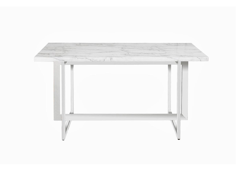 Стол обеденныйОбеденные столы<br>Материал: ножки - хромированный металл, столешница - МДФ с покрытием с имитацией мрамора (глянец)<br><br>Material: МДФ<br>Ширина см: 150.0<br>Высота см: 75.0<br>Глубина см: 90.0