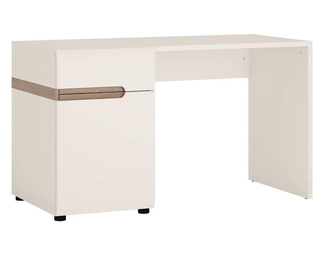 Стол письменный LinateПисьменные столы<br>Нетрадиционный дизайн коллекции LINATE - это отличный вариант для тех, кто всегда следует новым веяниям моды. Белый глянцевый фасад, оригинальное исполнение ручек, направляющие скрытого монтажа с доводчиками, а также необычный дизайн всей коллекции подчеркнет индивидуальность владельца и его стремление к оригинальности и новизне.Материал: ЛДСП, МДФ<br>