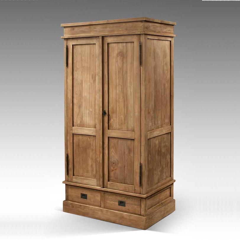 Шкаф платяной Contempo 100Платяные шкафы<br>Платяной шкаф из массива тика с двумя вместительными ящиками и штангой для одежды. Дверцы закрываются на ключ.<br><br>Material: Тик<br>Length см: None<br>Width см: 100.0<br>Depth см: 65.0<br>Height см: 200.0<br>Diameter см: None