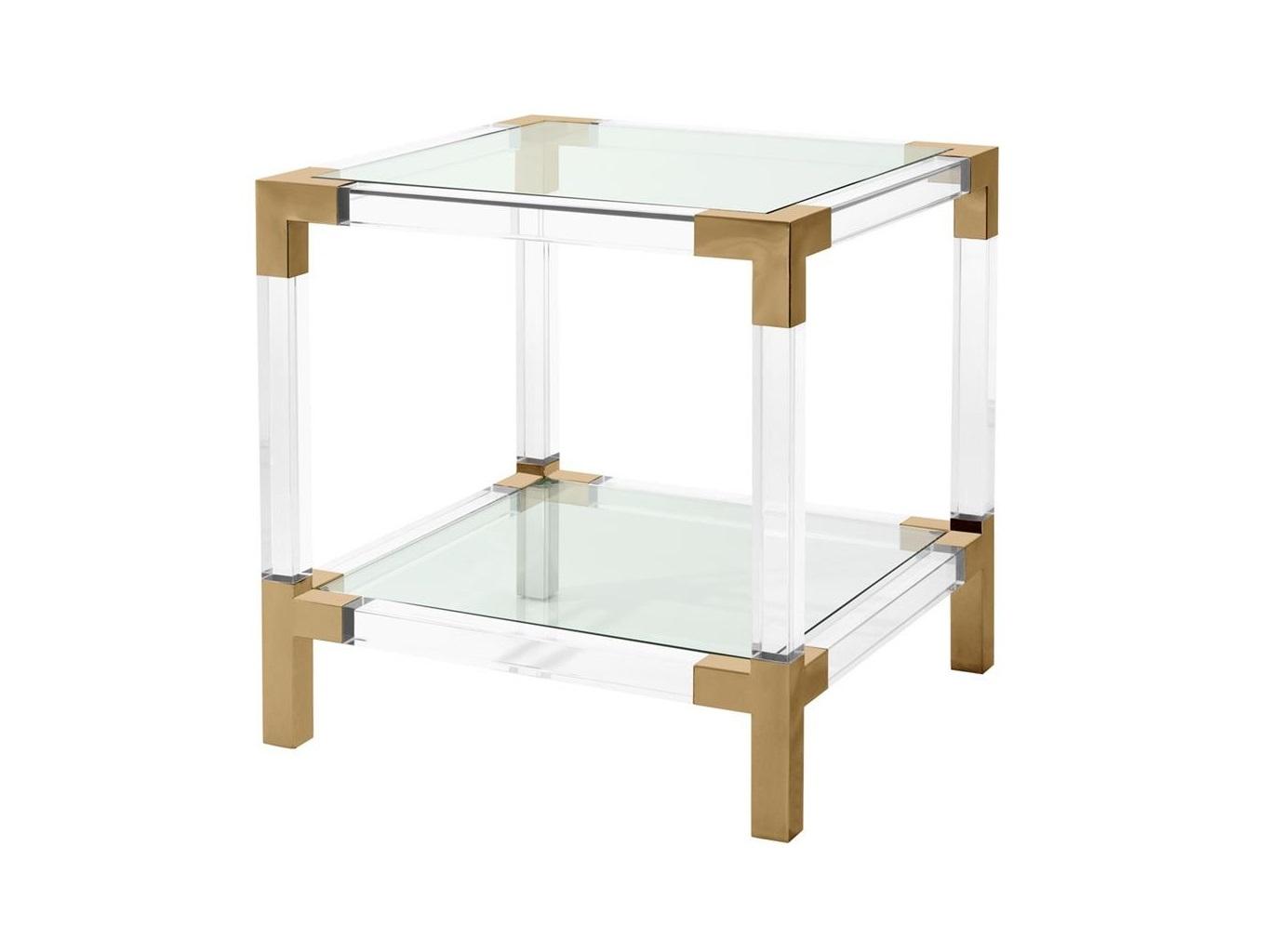 Приставной столик RoyaltonПриставные столики<br>Приставной столик Royalton с каркасом из прозрачного акрила и металла.&amp;amp;nbsp;&amp;lt;div&amp;gt;Отделка металла брашированная латунь.&amp;amp;nbsp;&amp;lt;/div&amp;gt;&amp;lt;div&amp;gt;Полка и столешница из прозрачного стекла.&amp;lt;/div&amp;gt;<br><br>Material: Стекло<br>Ширина см: 60.0<br>Высота см: 60.0<br>Глубина см: 60.0