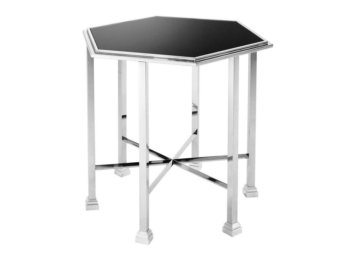 Приставной столик RavelloПриставные столики<br>Приставной столик Ravello с основанием из полированной нержавеющей стали.&amp;amp;nbsp;&amp;lt;div&amp;gt;Столешница из черного стекла.&amp;lt;/div&amp;gt;<br><br>Material: Стекло<br>Ширина см: 71.0<br>Высота см: 65.0<br>Глубина см: 62.0