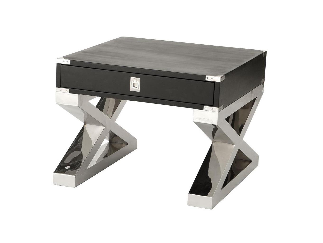 Приставной столик MontanaПриставные столики<br>Приставной столик Montana на массивных ножках из полированной нержавеющей стали. Столешница с одним выдвижным ящиком, выполнена из дерева и окрашена в черный цвет.<br><br>kit: None<br>gender: None