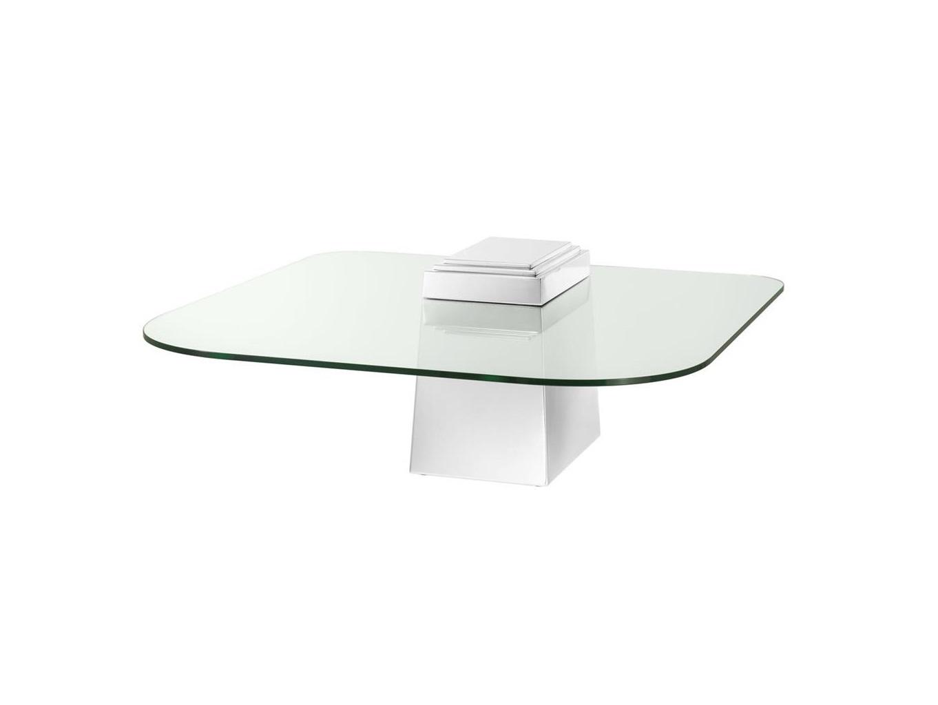 Журнальный стол OrientЖурнальные столики<br>Оригинальный журнальный стол Orient с пирамидальным основанием из полированной нержавеющей стали.&amp;amp;nbsp;&amp;lt;div&amp;gt;Квадратная столешница с закругленными углами из прозрачного стекла.&amp;lt;/div&amp;gt;<br><br>Material: Стекло<br>Ширина см: 105.0<br>Высота см: 44.0<br>Глубина см: 105.0