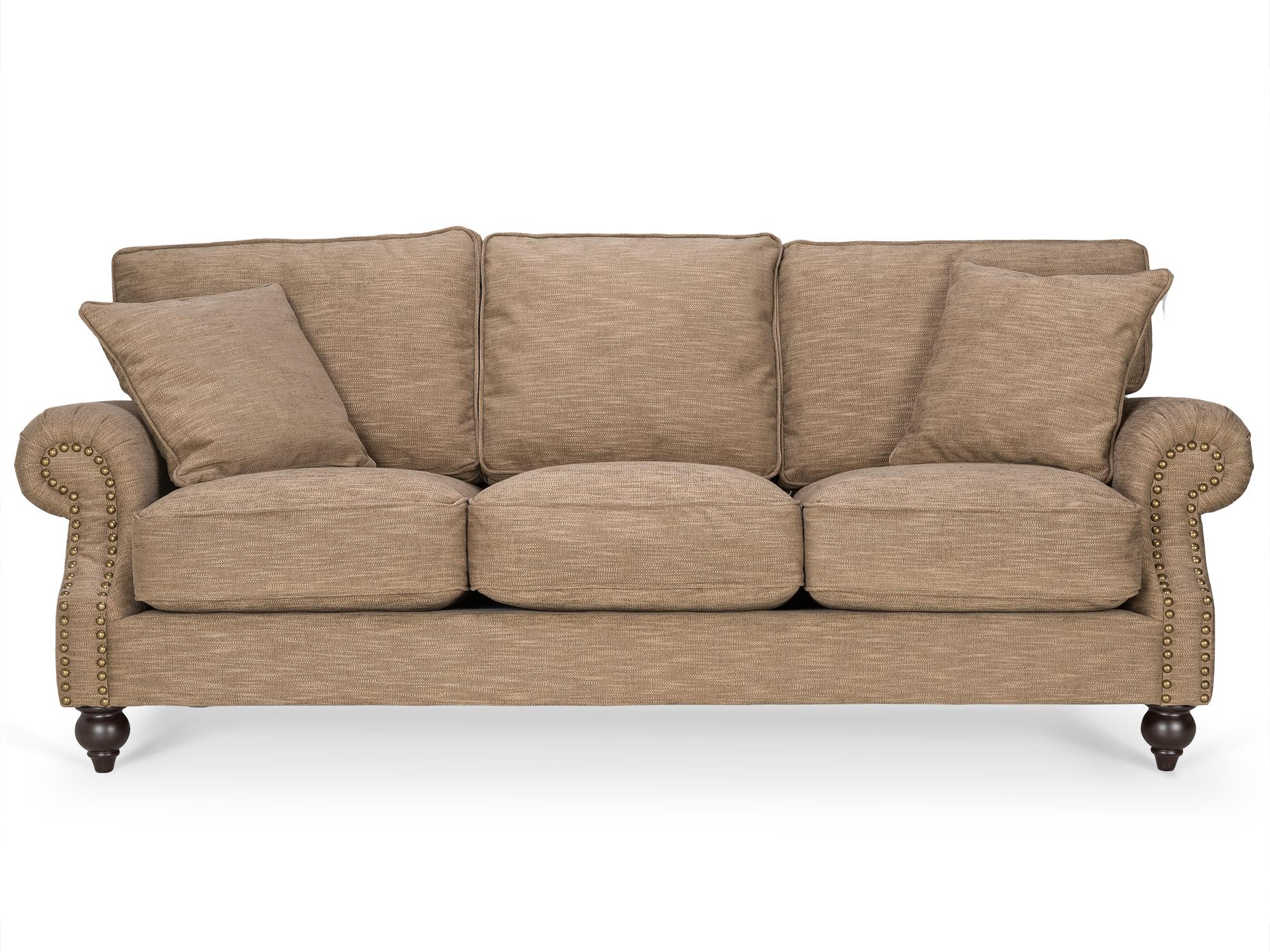 Диван AmeliaТрехместные диваны<br>Очаровательный диван Amelia на невысоких деревянных ножках в отделке «мокко» от производителя Kelly Lounge.&amp;nbsp;Модель декорирована гвоздиками с широкой шляпкой.&amp;nbsp;Модель комплектуется подушками.&amp;nbsp;Диван нераскладной.&amp;nbsp;Изделие поставляется в cобранном виде.<br><br>kit: None<br>gender: None