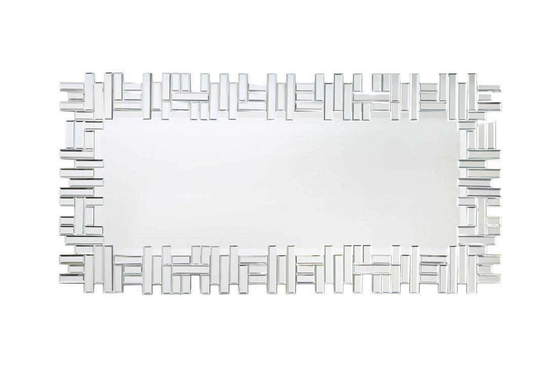 Зеркало KFH260Настенные зеркала<br>Это зеркало напоминает полотно художника-конструктивиста в монохромном варианте и вашим отражением в главной роли. Притягивает взгляд ритмичный узор из геометрически правильных зеркальных сегментов по периметру. Длина зеркала в 1 метр и 16 сантиметров позволяет закрепить его вертикально и смотреть на себя в полный рост.<br><br>Material: Стекло<br>Length см: 116.0<br>Width см: 57.5<br>Depth см: None<br>Height см: None<br>Diameter см: None