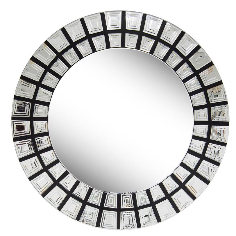 Зеркало AztecНастенные зеркала<br>Рама этого зеркала напоминает пластинчатые украшения древних инков или ацтеков. Индейцы предпочитали золото, Garda Decor выбрали стильное контрастное сочетание серебристо-зеркальных секций и черного фона. Ваш домашний символ солнца, больше метра в диаметре, отражающий свет всеми бесчисленными ребрами зеркальных поверхностей.<br><br>Material: Стекло<br>Length см: 115.7<br>Width см: 115.7