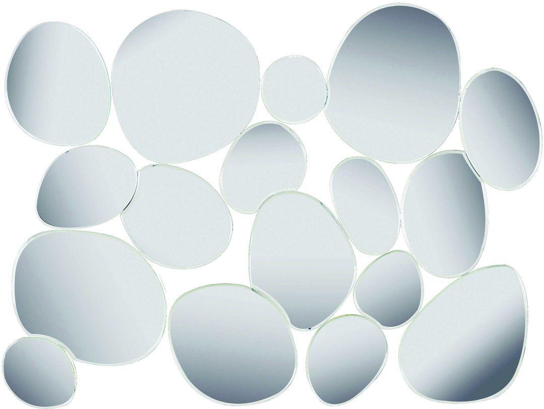 ЗеркалоНастенные зеркала<br>Эта стильная зеркальная композиция составлена из отдельных элементов неправильной формы, напоминающих то ли морскую гальку, то ли капли воды. Никакой симметрии, никакой логичности, никаких острых углов – только природная гармония, плавность и текучесть. Предмет декора, крайне подходящий для интерьера ванной комнаты.<br><br>Material: Стекло<br>Length см: 87<br>Width см: 64<br>Height см: 1.9