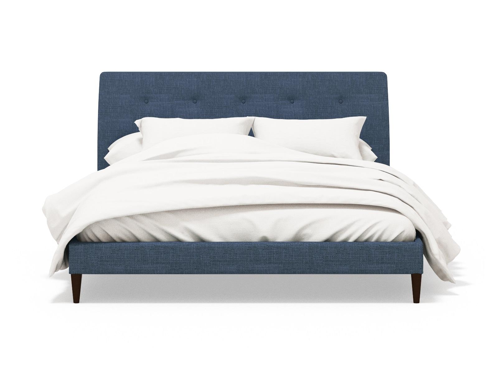Мягкая кровать HofferКровати с мягким изголовьем<br>Кровать Hoffer, несмотря на свою простоту, будет выглядеть в вашей спальне очень стильно и лаконично. Она выполнена в дорогом насыщенном синем цвете и имеет изящную стяжку на мягком изголовье. Основание кровати выполнено из массива дерева и отвечает высочайшим европейским стандартам.<br>Размер спального места: 180х200. <br>Возможно изготовление в других цветах и тканях.<br>Доп. опция: подъемный механизм. Подробности уточняйте у менеджера.<br>