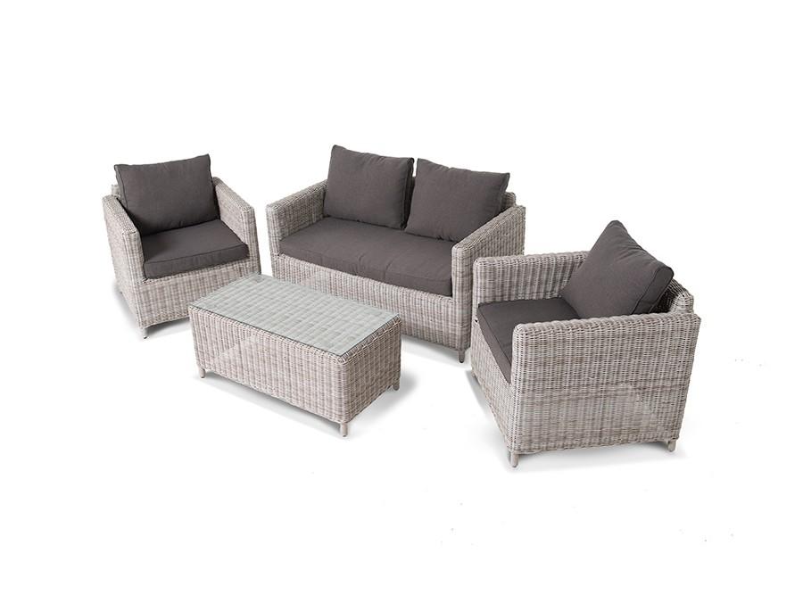Лаунж зона Макиато Бьянко (4 предмета)Комплекты уличной мебели<br>Лаунж зона из искусственного ротанга:&amp;nbsp;- 1 двухместный диван- 2 кресла&amp;nbsp;- 1 журнальный столик со стеклянной столешницей.&amp;nbsp;Алюминиевый каркас, круглый искусственный ротанг, ручное плетение.Диван и кресла оснащены подушками со съемными чехлами.&amp;nbsp;Размеры (ШхВхГ):- диван двухместный 136х75х77 см- кресло 75х75х77 см- стол 100х42х50 см<br><br>kit: None<br>gender: None