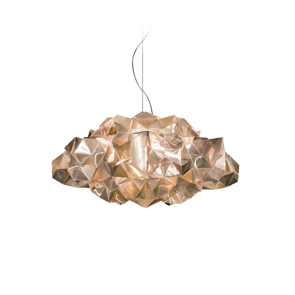 Подвесной светильник DrusaПодвесные светильники<br>Вид цоколя: LEDМощность: 8WКоличество ламп: 4 (нет в комплекте)Плафон выполнен из необычного материала под названием LENTIFLEX. Это материал, изготавливаемый по собой технологии, которая делает его поверхность «многогранной», как будто бы он сделан из многих маленьких призм. Благодаря наложению двух слоев материала с углом наклона в 0,15 градусов, LENTIFLEX, как вода, изменяет свою форму и цвет с разных точек наблюдения. Основа материала позволяет получить эффект Френеля: пропускает свет, но, в то же время, преломляет его, увеличивает яркость источника света, предотвращая при этом ослепление и создавая переливающиеся цветовые оттенки. Дизайн: Adriano Rachele.Высота светильника регулируется до 140 см.<br><br>kit: None<br>gender: None