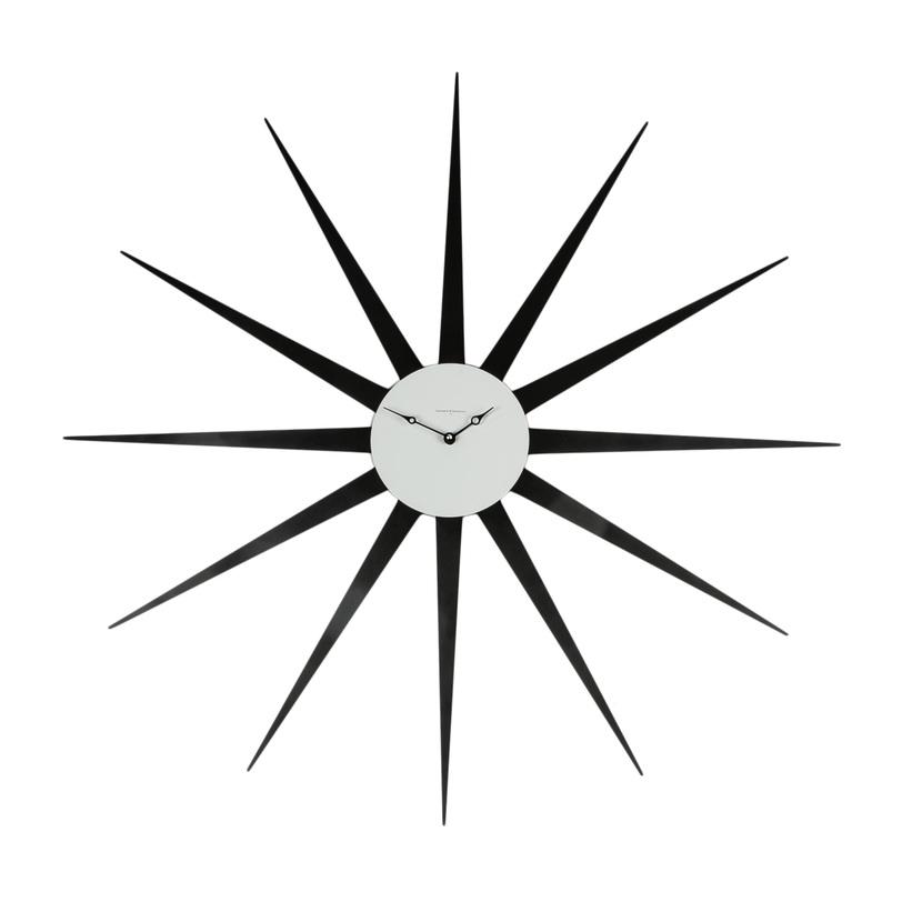 ЧасыНастенные часы<br>Настенные часы их металла черного цвета, почти метр в диаметр, по дизайну напоминают яркую звезду, каждый луч которой строго совпадает с цифрами циферблата. Этот предмет декора впишется в современный интерьер и, несомненно, привлечет внимание оригинальным исполнением.<br><br>Material: Металл<br>Length см: None<br>Width см: None<br>Depth см: 3<br>Height см: None<br>Diameter см: 90