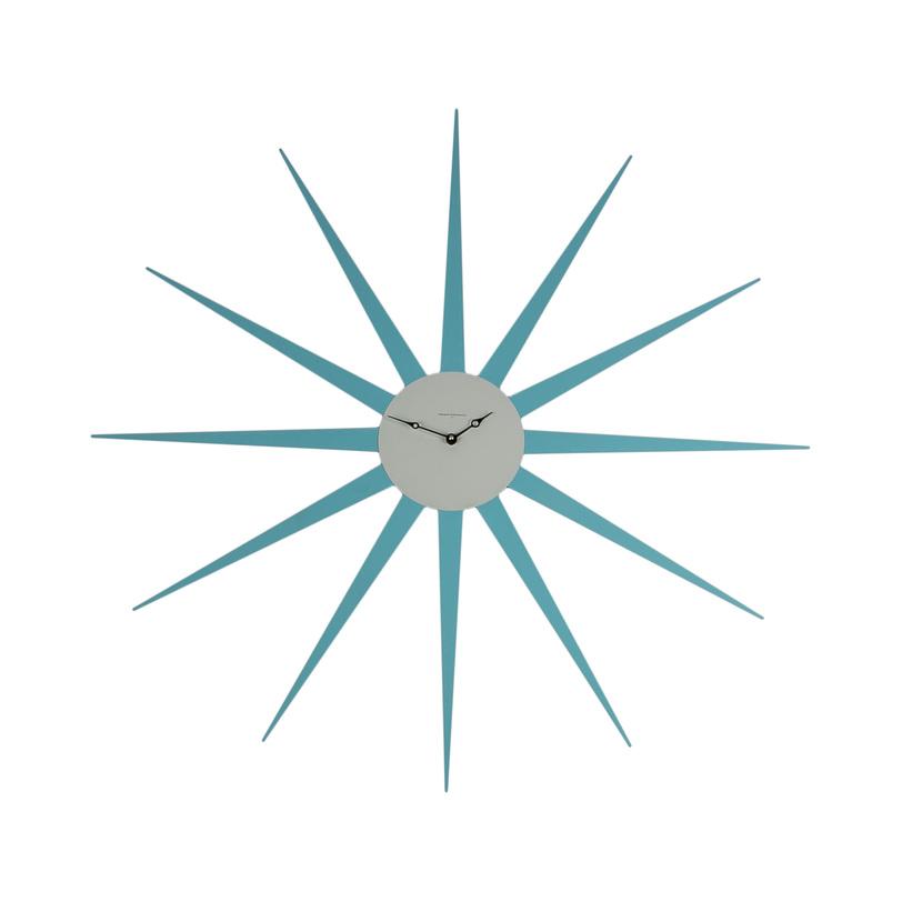 Часы StarНастенные часы<br>Настенные часы их металла нежно-голубого цвета, почти метр в диаметр, по дизайну напоминают яркую звезду, каждый луч которой строго совпадает с цифрами циферблата. Этот предмет декора впишется в современный интерьер и, несомненно, привлечет внимание оригинальным исполнением.<br><br>Material: Металл<br>Length см: None<br>Width см: None<br>Depth см: 3<br>Height см: None<br>Diameter см: 90