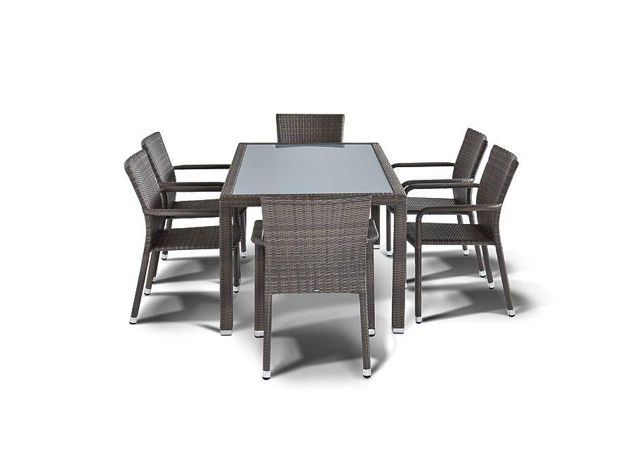 Обеденная группа МиланКомплекты уличной мебели<br>Обеденная группа на 6 персон. Стол со стеклянной столешницей толщиной 5 мм. Все стулья с подлокотниками. Алюминиевый каркас, искусственный ротанг, плетение плоское.&amp;nbsp;Размер стола: 50*90*75 см;Размер стула (6шт):&amp;nbsp;&amp;nbsp;57*61*88 см.<br><br>kit: None<br>gender: None