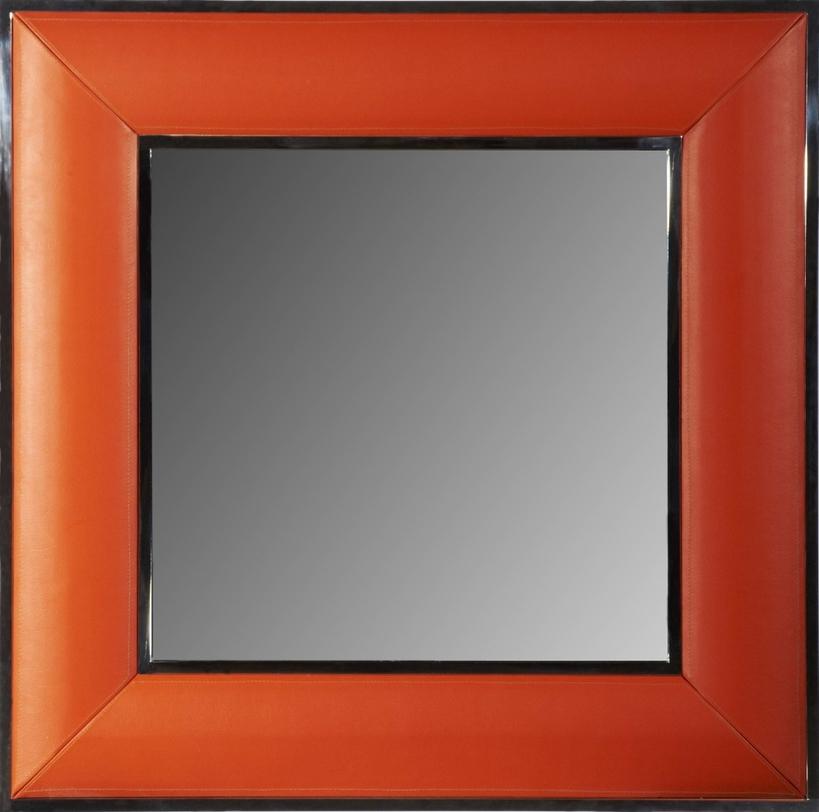 ЗеркалоНастенные зеркала<br>Зеркало в квадратной раме оформлено весьма неординарным способом: широкая рама обтянута яркой кожей красно-оранжевого цвета. Отличный выбор для смелых решений в оформлении интерьера.<br><br>Отделка: дерево; кожа; зеркало<br><br>Material: Дерево<br>Length см: None<br>Width см: 90<br>Depth см: 5<br>Height см: 90