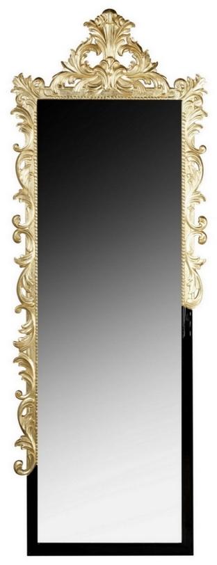 ЗеркалоНастенные зеркала<br>Великолепное зеркало, несомненно, украсит интерьер прихожей или спальни. Зеркало обрамлено великолепной рамой, сочетающей позолоченный витиеватый узор с окрашенной в черный деревянной планкой. Массивное зеркало, более 2 метров в высоту и 80 см в ширину впишется в просторное помещение, оформленное в современном эклектичном стиле или стиле ар-деко.<br><br>Material: Дерево<br>Ширина см: 82<br>Высота см: 227