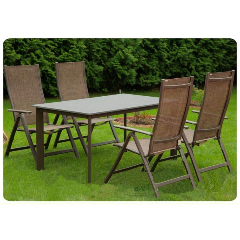Столовая группа LEONКомплекты уличной мебели<br>Гармоничная столовая группа (стол и 4-6 стульев) выполнена из искусственный камня, алюминия и textiline. Отлично будет смотреться в загородном интерьере. Мебель не требует тщательного ухода и долговечена.<br>Раскладное кресло-стул можно купить в комплекте со специальной мягкой подушкой на сидение этого стула!<br><br>Столешница: искусственный камень, тон светлый<br>Основание и ножки стола: материал алюминий, цвет светло коричневый<br>Размеры изделия 150х90х75 см<br>Размеры упаковки 154х94х8 см<br><br>Раскладное кресло-стул<br>Материал: алюминий/textilene<br>Вес одного стула: 3,5 кг<br>Размеры упаковки: 63х12х94 см<br>Выдерживаемый вес: 130 кг<br>Размеры стула: 110х63х115 см<br><br>Material: Алюминий<br>Length см: 150<br>Width см: 90<br>Depth см: None<br>Height см: 75<br>Diameter см: None