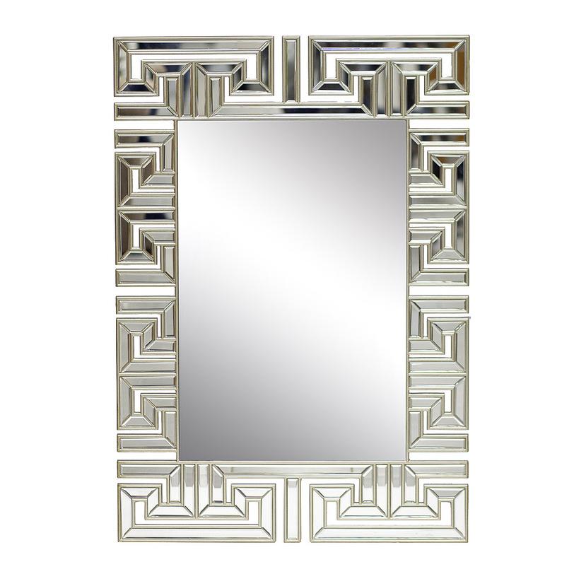ЗеркалоНастенные зеркала<br>Меандр ? оригинальный греческий узор, представляющий собой прямые углы, складывающиеся в непрерывную линию. Известный еще со времен палеолита, в оформлении зеркала от Garda Decor он не выглядит устаревшим. Элегантная отделка серебристым металлом и использование многочисленных отражающих элементов позволяет принимать ему облик, полный современной элегантности и гламура. В строгой геометрии, сдержанной роскоши и изысканности и состоит очарование стиля ар деко, в котором выполнен декор.<br><br>Material: Стекло<br>Ширина см: 73<br>Высота см: 106