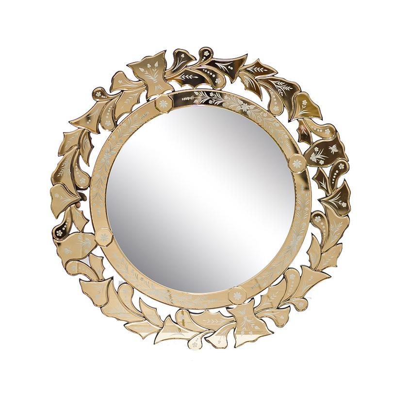 Зеркало JaneНастенные зеркала<br>Мягкие, романтичные узоры: цветы, бутоны, листья. Классическое сочетание золота и ювелирного серебряного тиснения. Это зеркало в нежном цветочном венке украсит женскую спальню или будуар, гармонично сочетаясь с игривым интерьером с элементами рококо.<br><br>Material: Стекло<br>Length см: None<br>Width см: None<br>Depth см: None<br>Height см: None<br>Diameter см: 82.5