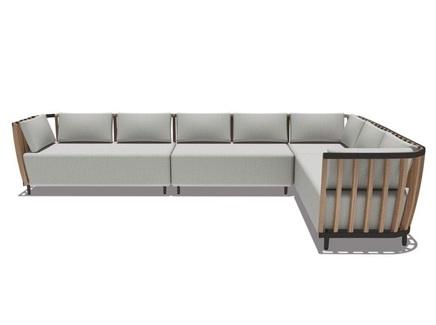 Модульный диван swing (ethimo) серый 375x77x245 см.
