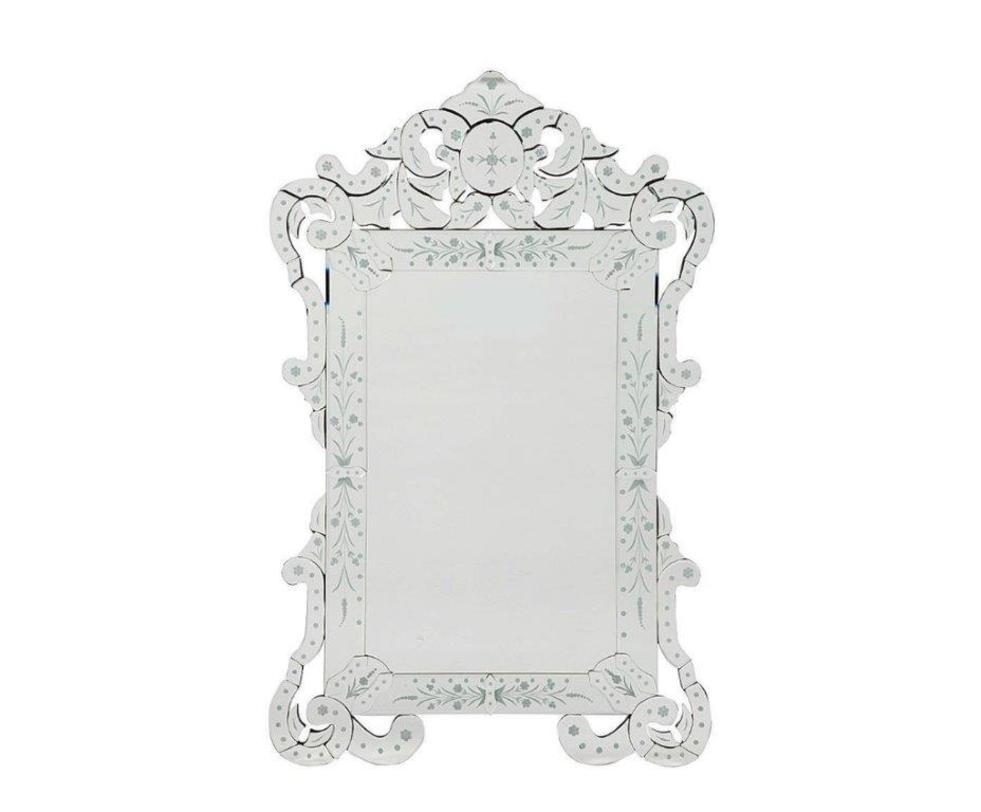 Зеркало MargauxНастенные зеркала<br>Зеркало Margaux – очаровательный предмет декора интерьера и безусловное его украшение. Оно будет удачно смотреться как в комнате с модной зеркальной мебелью, так и в любой другой обстановке. Изысканная рама, украшенная незамысловатыми, но очаровательными рисунками придает аксессуару неповторимый и роскошный вид.<br><br>Material: Стекло<br>Width см: 77<br>Depth см: 3<br>Height см: 120