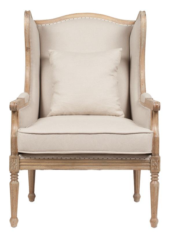 Кресло CameronКресла с высокой спинкой<br>Удобное и в то же время очаровательное кресло Cameron станет прекрасным украшение любой комнаты вашего дома в стиле «прованс». Оно удачно сочетает в себе простоту и французское великолепие. Дубовый каркас с оригинальной резьбой искусственно состарен; это придает креслу винтажный вид. Обивка из льна соединяется с деревянным основанием мелкими гвоздиками, словно намекая на ручную работу и, как следствие, эксклюзивность предмета мебели.&amp;amp;nbsp;<br><br>Material: Лен<br>Length см: 77.0<br>Width см: 87.0<br>Depth см: None<br>Height см: 112.5<br>Diameter см: None
