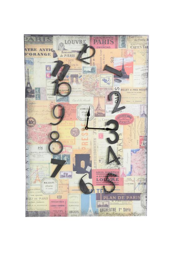 ЧасыНастенные часы<br>Настенные часы для любителей путешествий и Франции. Веселый циферблат в сочетании<br>с цветным фоном, на котором изображены парижские марки, афиши, билеты и другие детали, поддающиеся внимательному изучению.<br><br>Цвет: мультиколор<br><br>Material: Дерево<br>Width см: 51<br>Depth см: 4<br>Height см: 76