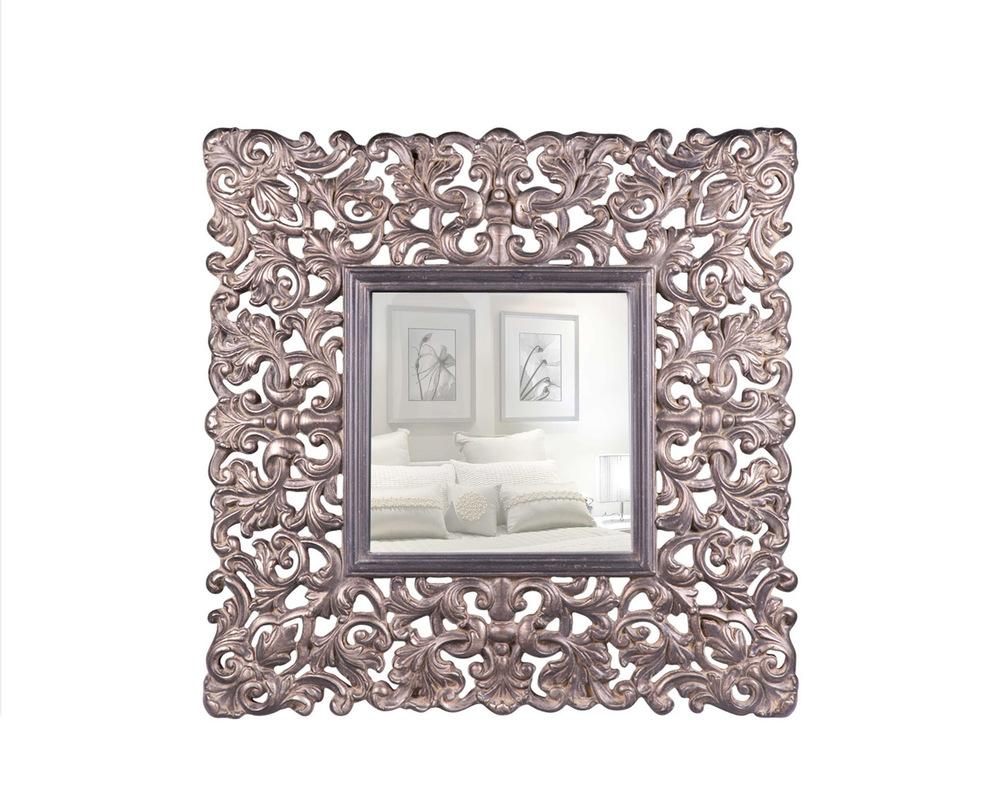 ЗеркалоНастенные зеркала<br>Настенное зеркало в классическом стиле, рама выполнена из полеуретана, украшена резным растительным орнаментом.Крепления предусмотрены как вертикально,так и горизонтально.<br><br>Material: Металл<br>Width см: 92.5<br>Depth см: 7.4<br>Height см: 92.5
