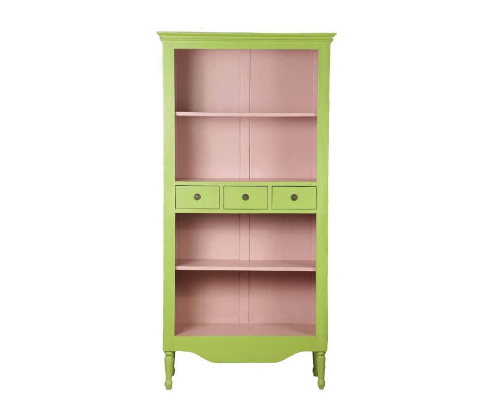 СтеллажСтеллажи<br>Сочный и свежий предмет мебели. Цвета зеленого яблока снаружи и нежно розовый внутри. С ярким цветовым решением контрастирует классическая форма этого стеллажа. Кроме открытых полок, есть три выдвижных ящичка для важных мелочей.<br><br>Material: Красное дерево<br>Length см: 90<br>Width см: 37<br>Height см: 180