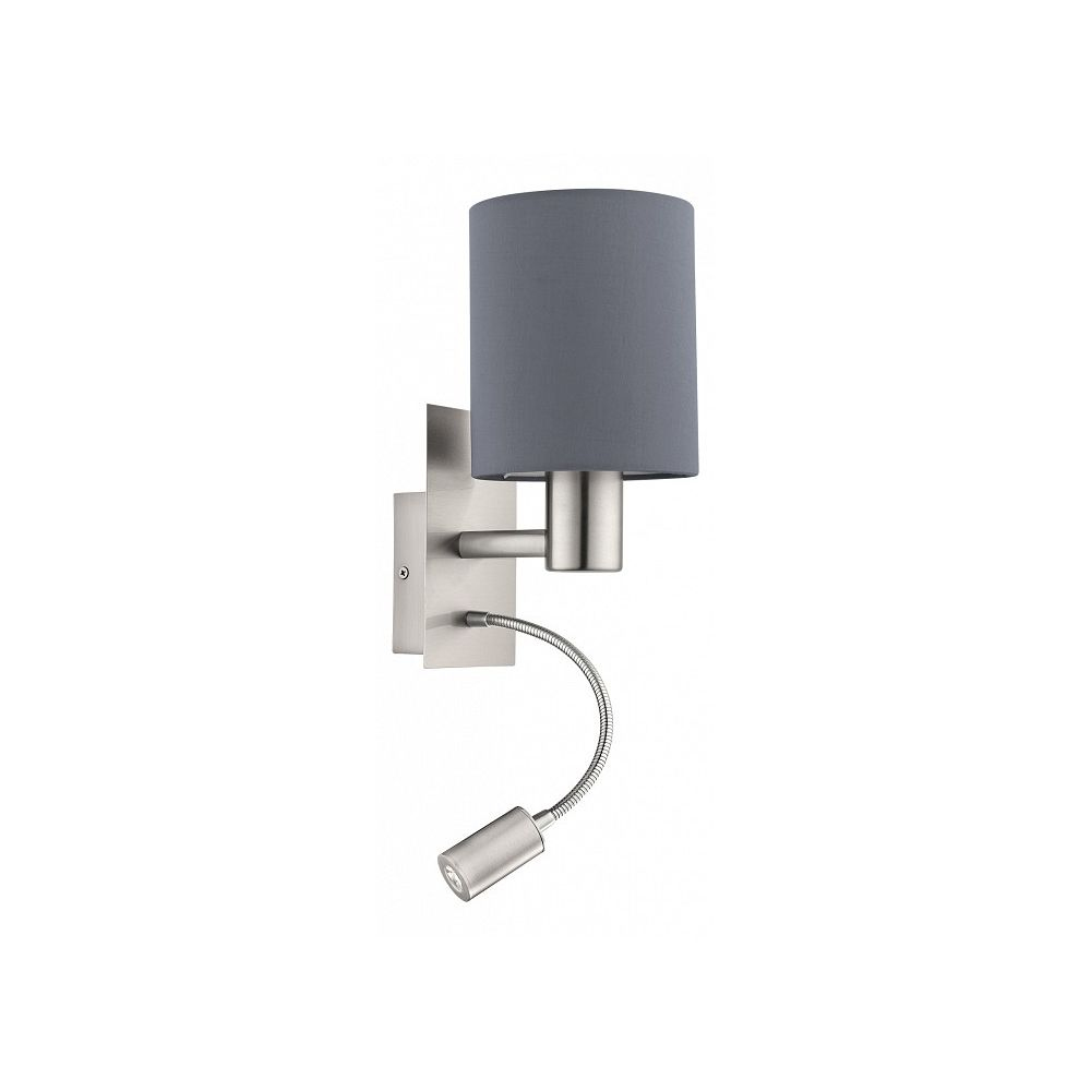 Бра с подсветкой PasteriБра<br>Мощность - 40, 3.5W Цоколь - E27 Общее кол-во ламп - 2 (в комплекте (LED)) Материал плафонов и подвесок - текстильМатериал арматуры - сталь