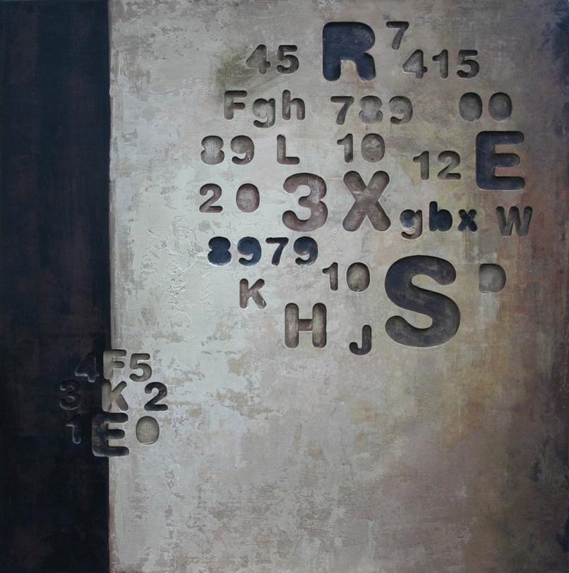 Картина ЗнакиКартины<br>Плоскость фона, разбитая на ровные прямоугольники серого и черного цветов, напоминает о полотнах Марка Ротко. На ней в два композиционных круга скомпонованы цифры и буквы.<br><br>kit: None<br>gender: None