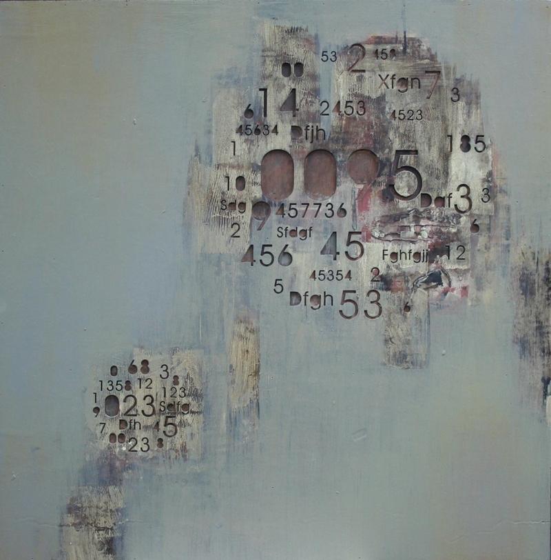 Картина ЗнакиКартины<br>Композиция красивого серо-голубого цвета, наплывающего на фактурные цифры и буквы, собранные в два круга.<br><br>Material: Дерево<br>Ширина см: 80<br>Высота см: 80