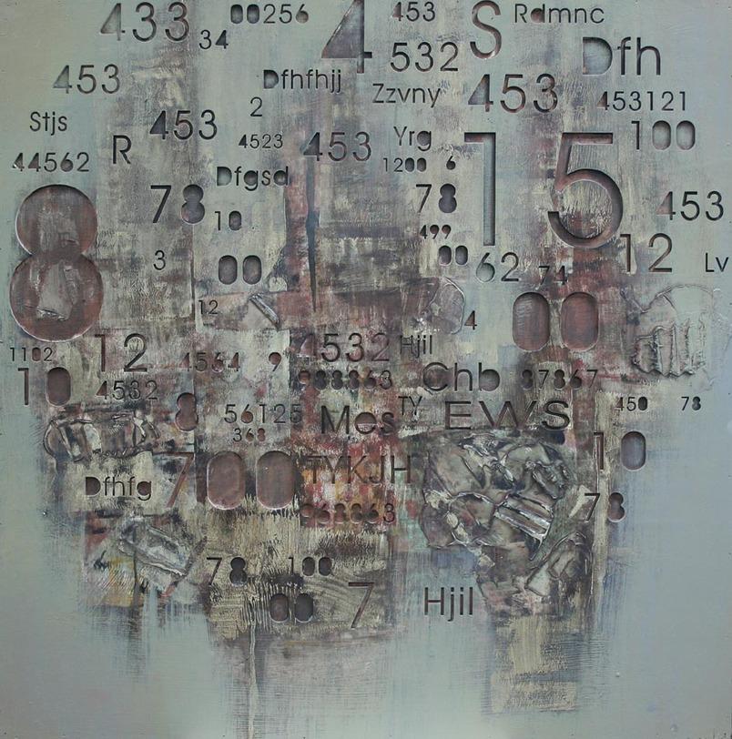 Картина ЗнакиКартины<br>Оригинальная картина с разномасштабными цифрами, образующие композицию. Деревянная панель, на которой выполнено фактурное серое покрытие.<br><br>Material: Дерево<br>Ширина см: 80<br>Высота см: 80