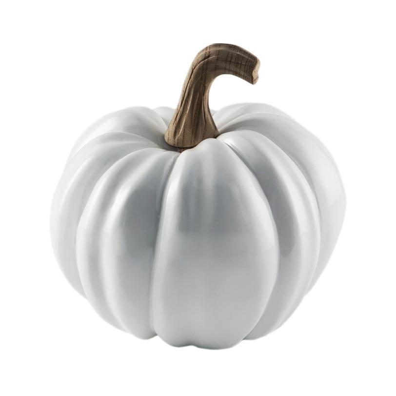 Декор PumpkinСтатуэтки<br>Декоративная тыква натуралистичной формы. Белый пластик и маленький бежевый, реалистично &amp;quot;подсохший&amp;quot;, хвостик.&amp;amp;nbsp;<br><br>Material: Пластик<br>Length см: None<br>Width см: None<br>Height см: 18<br>Diameter см: 20
