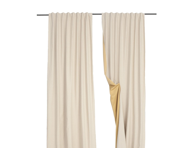 """Комплект шторШторы<br>Шторы из ткани-компаньона """"Казахской"""" коллекции КОКОН. В комплект входят два полотна на шторной ленте с  3-мя вариантами сборки. Открытый низ, оставляет возможность подшить необходимую высоту. Можно стирать в стиральной машине. Состав наволочки: 31% лен, 20% хлопок, 49% полиэфир."""