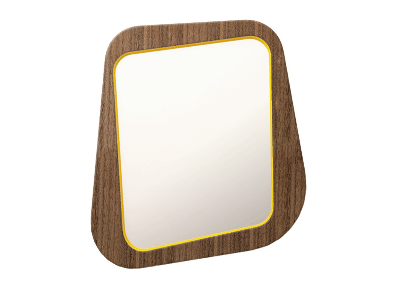 Зеркало WoodiНастенные зеркала<br>Новое зеркало Woodi небольшого размера отлично подойдет для прихожей, спальни или ванной комнаты. Рама зеркала покрыта натуральным дубовым шпоном, задняя поверхность и внутренняя окантовка окрашены.