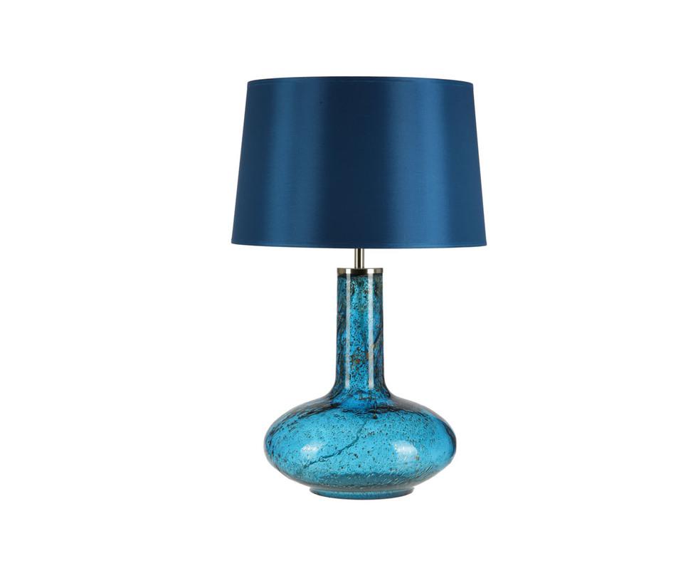 Настольная лампаДекоративные лампы<br>Основание в форме широкой вазы с длинным узким горлышком выполнено из фактурного стекла цвета индиго. Застывшие в стекле пузырьки воздуха напоминают нам о процессе создания стеклянных предметов, добавляя лампе рукотворной шероховатости. Абажур плотный, в цвет основания.&amp;lt;div&amp;gt;&amp;lt;br&amp;gt;&amp;lt;/div&amp;gt;&amp;lt;div&amp;gt;&amp;lt;div&amp;gt;Вид цоколя: E27&amp;lt;/div&amp;gt;&amp;lt;div&amp;gt;Мощность: 60W&amp;lt;/div&amp;gt;&amp;lt;div&amp;gt;Количество ламп: 1&amp;lt;/div&amp;gt;&amp;lt;/div&amp;gt;<br><br>Material: Стекло<br>Length см: 35<br>Height см: 52